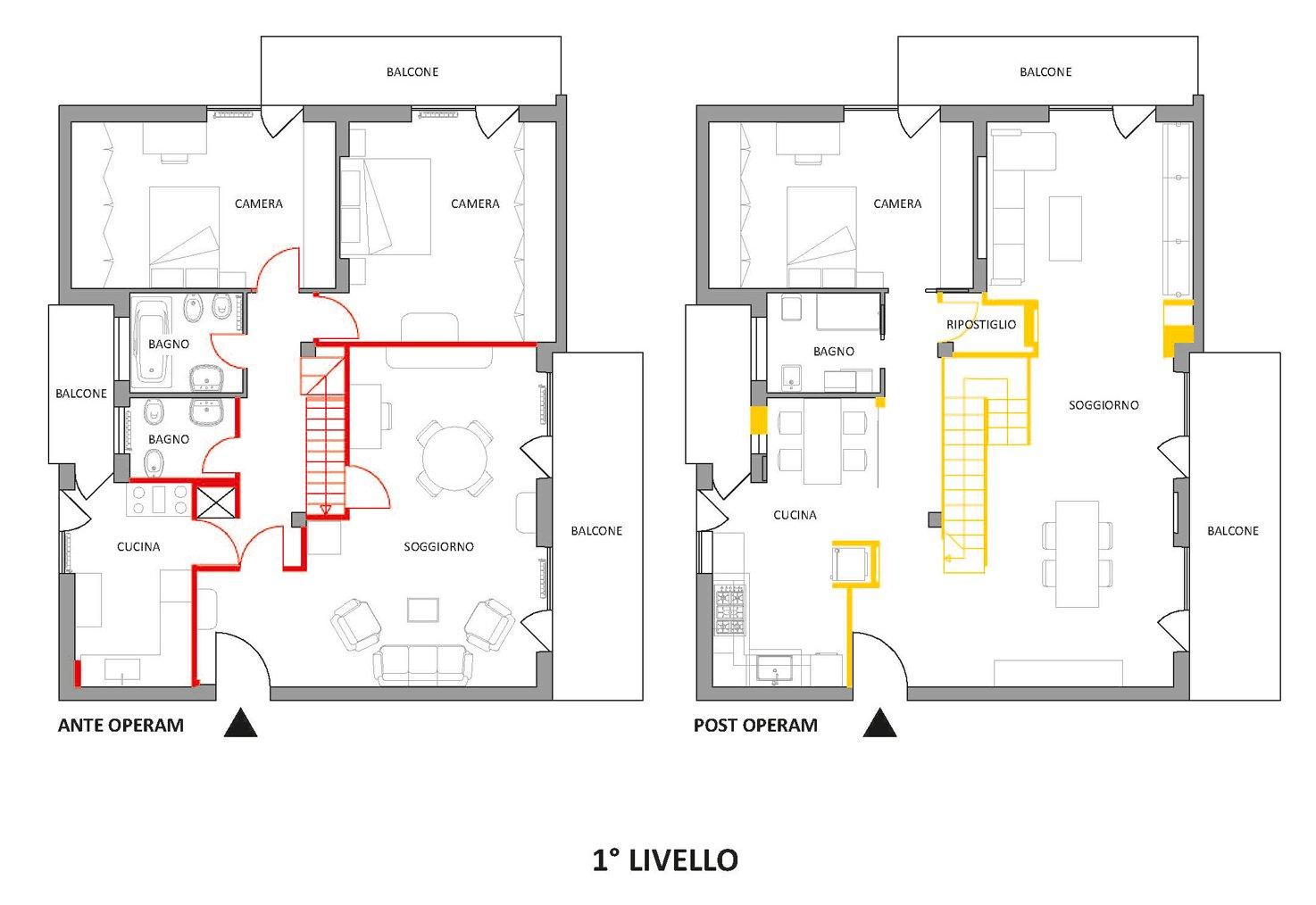 Sottotetto su due livelli con ambienti open space  Cose di Casa