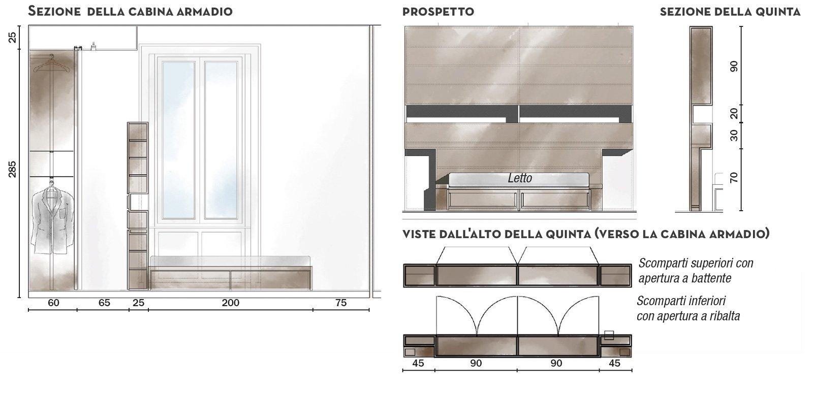 110 mq con una parete in vetro per dividere soggiorno e