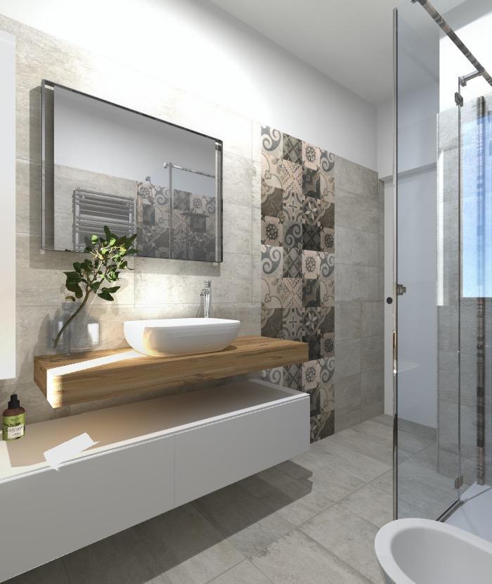 Progetto in 3D spostando la lavatrice e aggiungendo lasciugatrice il bagno ci guadagna