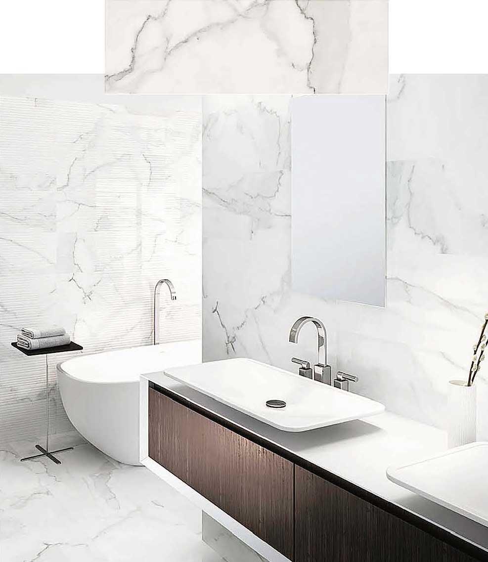 Bagno effetto marmo con i nuovi rivestimenti Tante soluzioni da Leroy Merlin  Cose di Casa