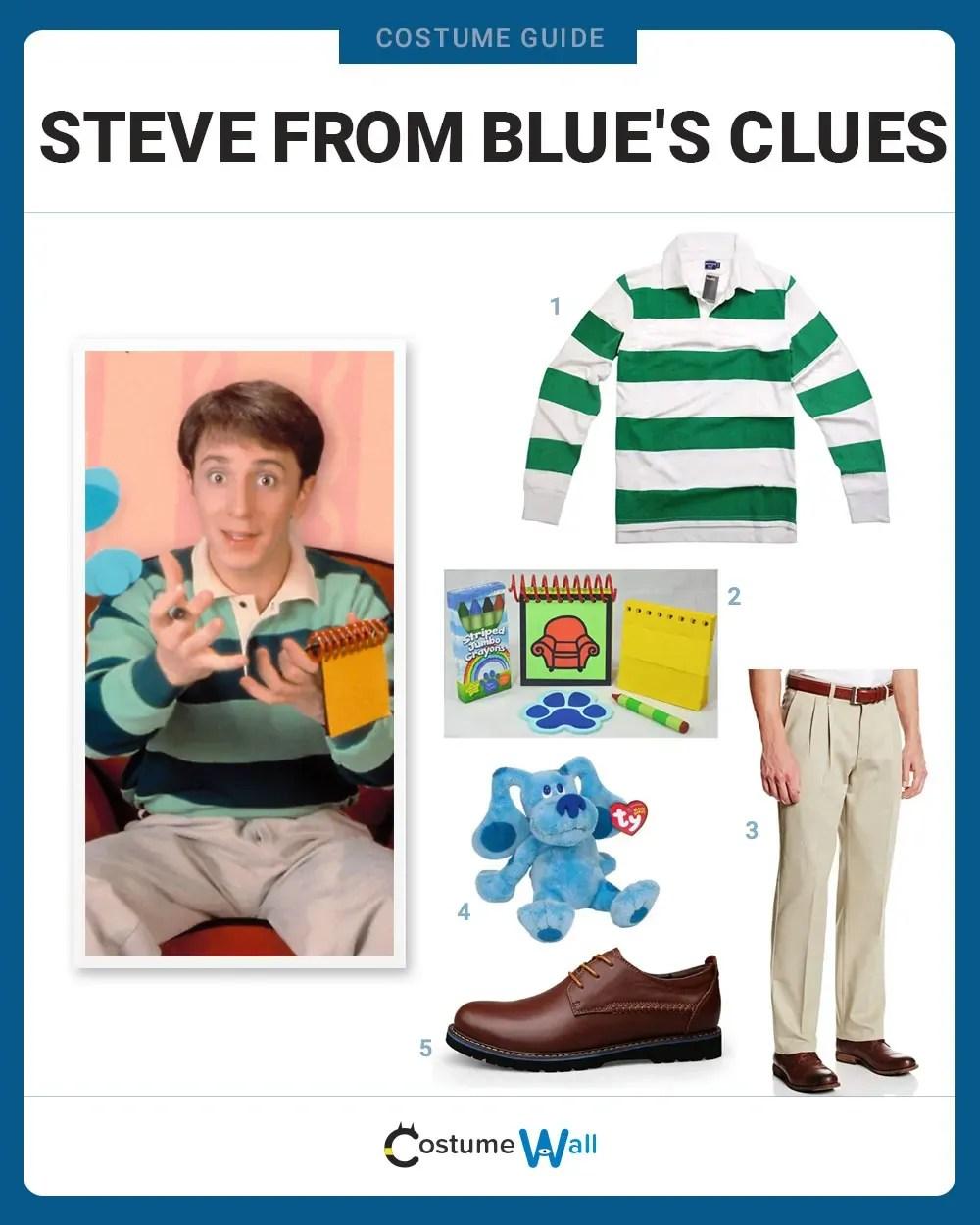 Blue Clues Halloween : clues, halloween, Dress, Steve, Blue's, Clues, Costume, Halloween, Cosplay, Guides