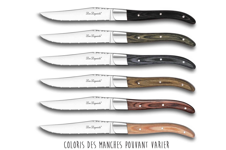 coffret elegant de 6 couteaux a steak lou laguiole