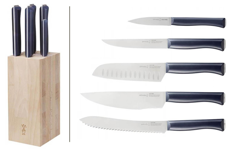 bloc bois de hetre 5 couteaux cuisine opinel intempora