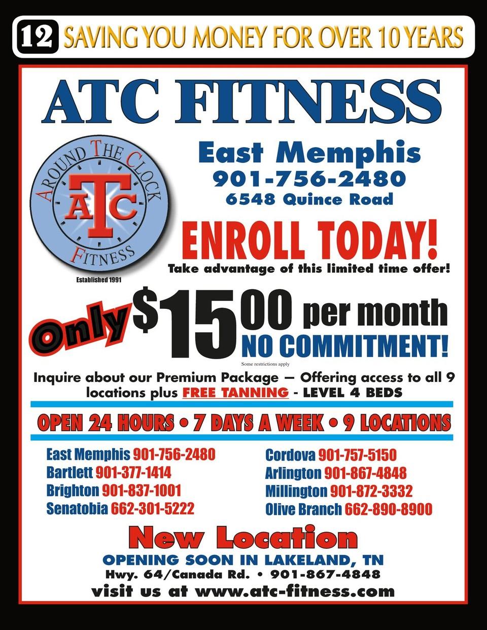 Atc Fitness Bartlett : fitness, bartlett, Memphis, Spring