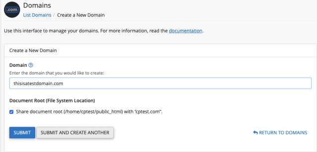 cPanel alias domain