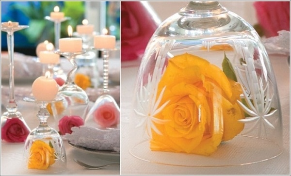 Upside Down Wine Glass Centerpieces | thegoodstuff