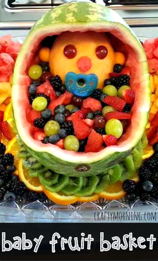 Baby Shower Watermelon Carving : shower, watermelon, carving, Fruit, Basket, Shower, Crafty, Morning