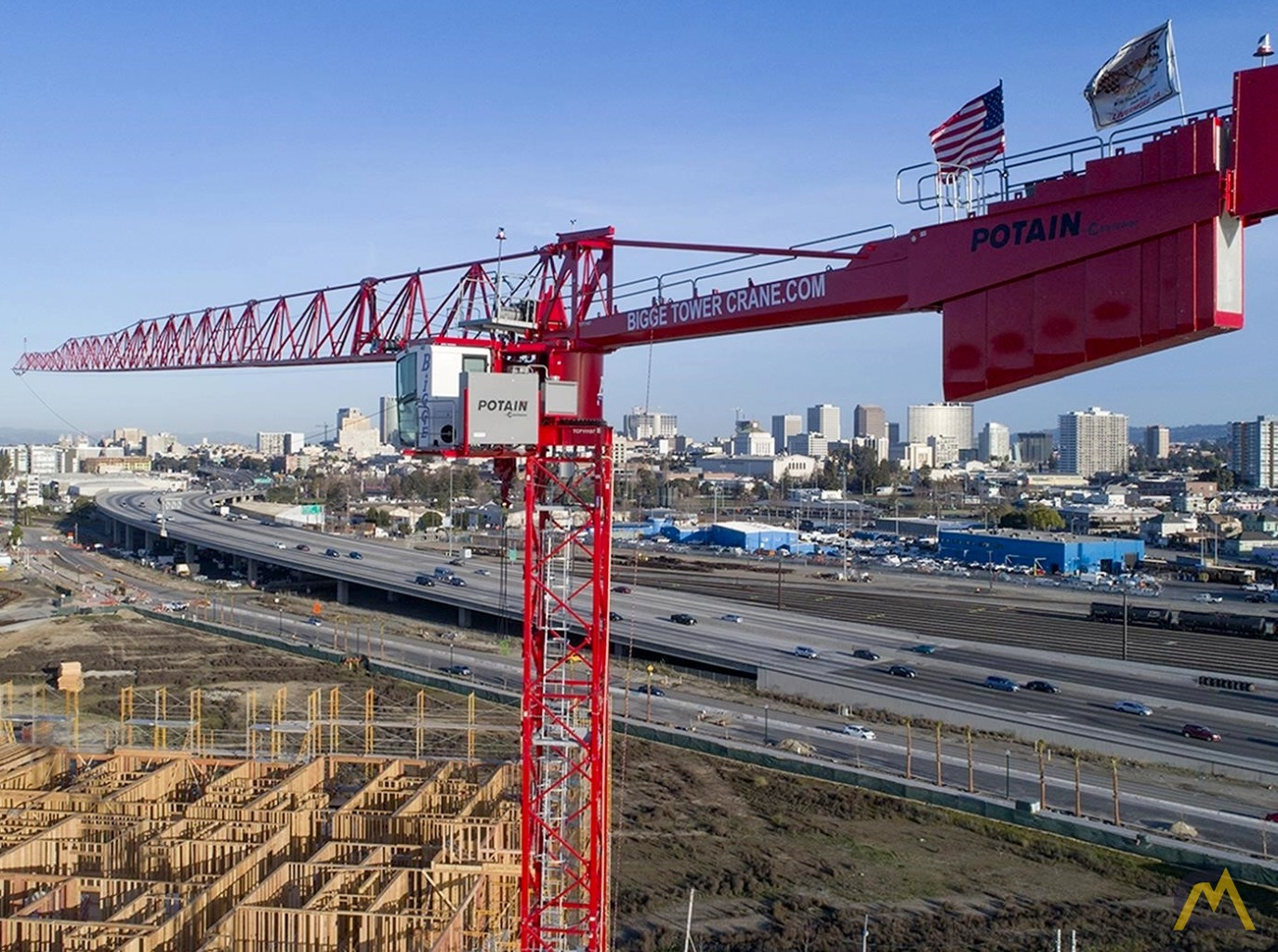 hight resolution of potain mdt 219 j10 11 ton flat top tower crane 0