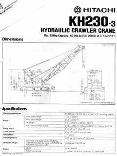 Crawler Cranes Hitachi KH230-3 Specifications CraneMarket