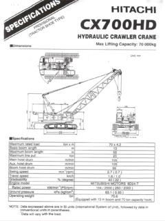 Hitachi Specifications CraneMarket