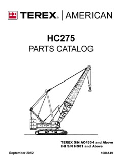 Crawler Cranes Terex American HC 275 Specifications