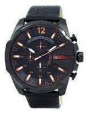 Diesel Mega Chief Chronograph Black Dial 100M DZ4291 Mens Watch