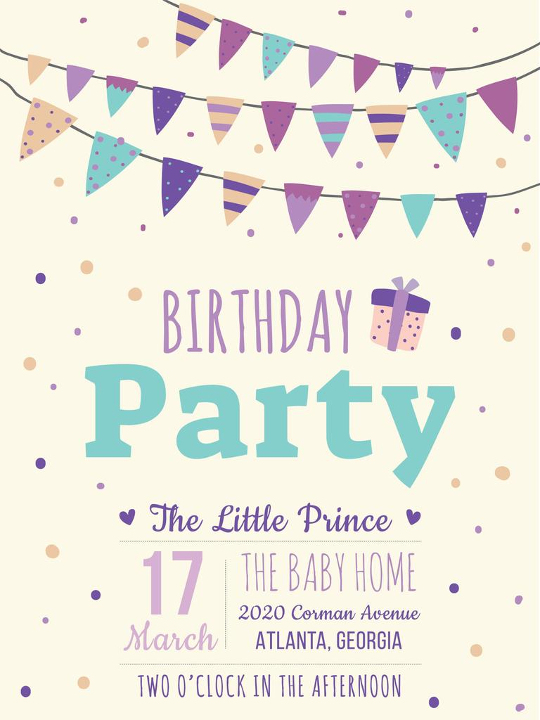 Birthday Party Invitation Card Poster Us 18x24in Template