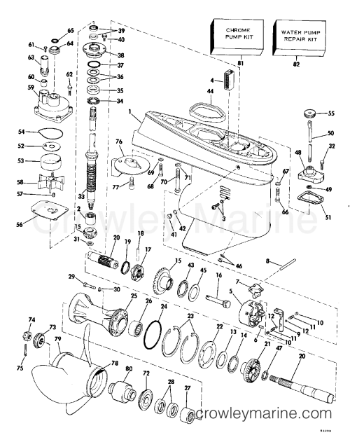small resolution of 1980 johnson outboards 70 j70elcsa gearcase 20 transom section