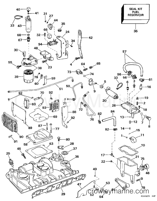 small resolution of 1997 omc stern drive 4 3 432bplkd intake manifold fuel system tbi models