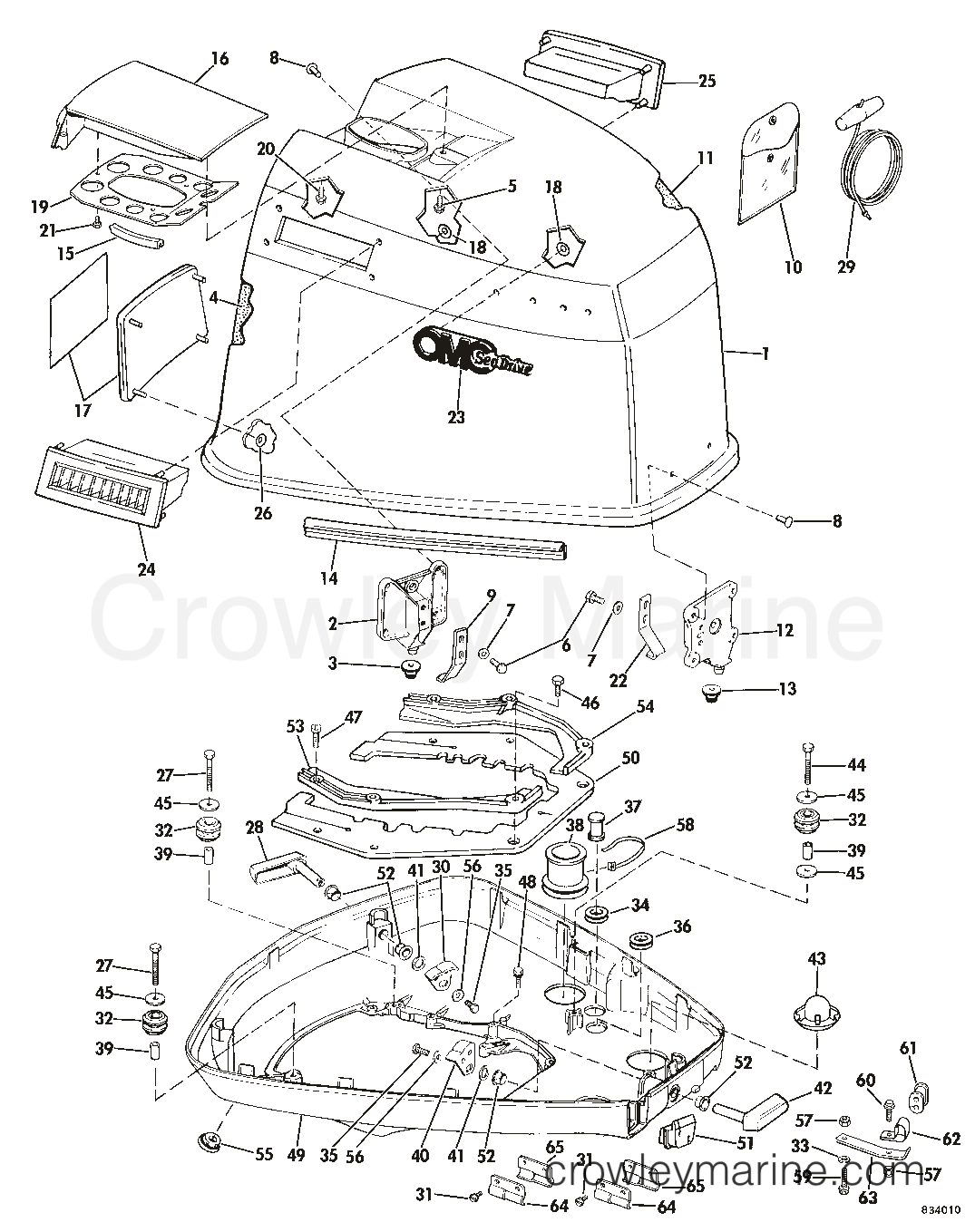 hight resolution of 1983 omc sea drive 1 6l 2balctr engine cover section