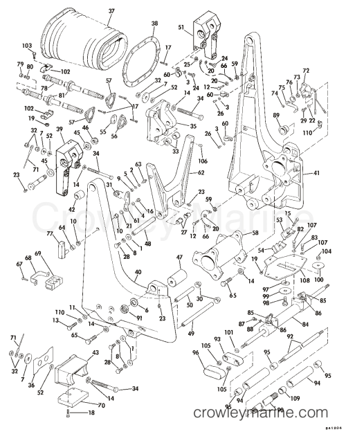 small resolution of 1984 omc sea drive 2 6l ducted 1aalcra transom bracket hydraulic steering section
