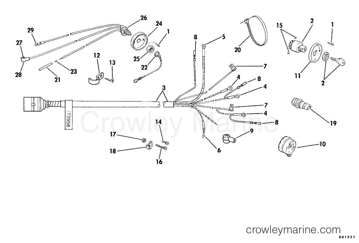 hight resolution of 1986 rigging parts omc sea drive all models wiring kit single lever controls