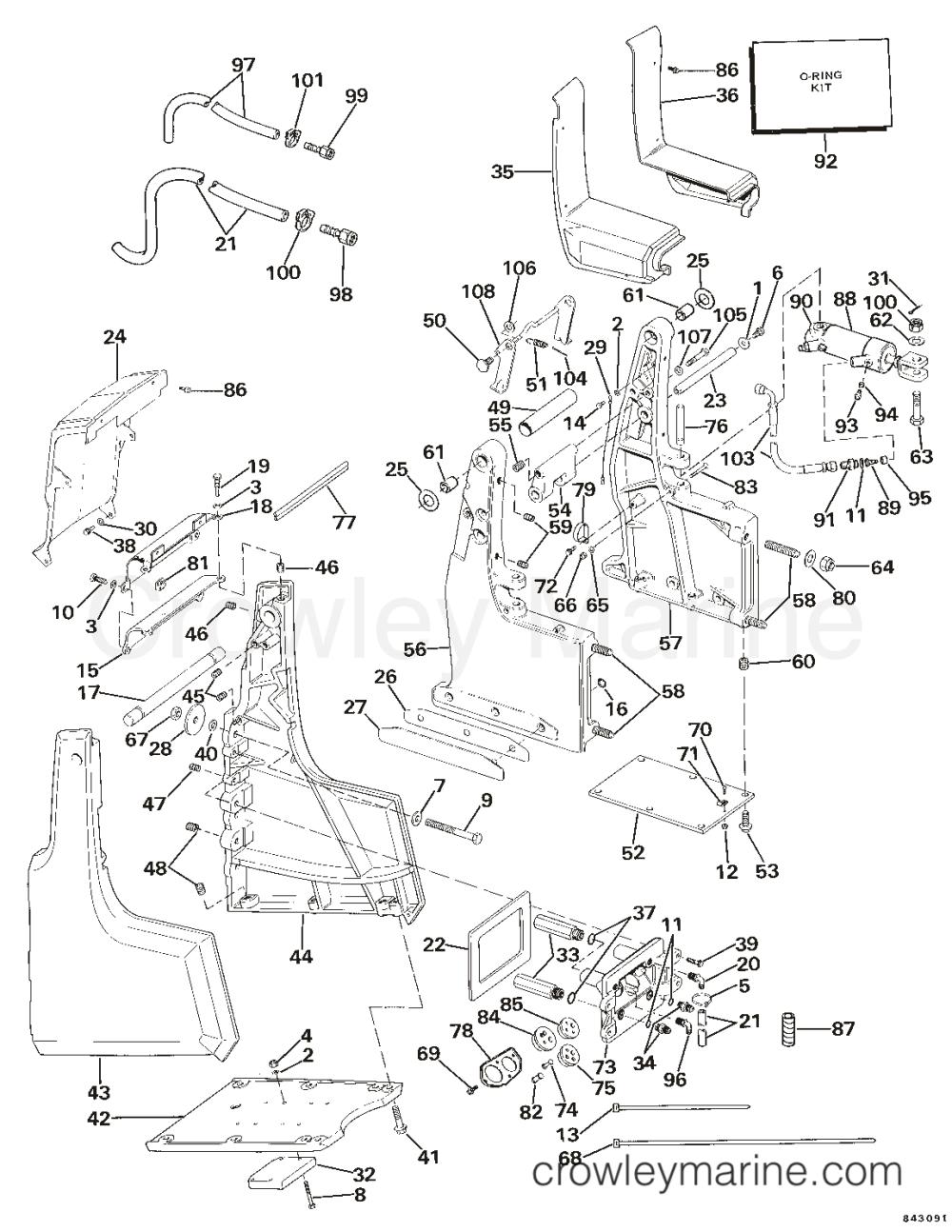 medium resolution of transom bracket assembly hydraulic steering 1984 omc sea drive omc wiring 1984 omc sea drive 1
