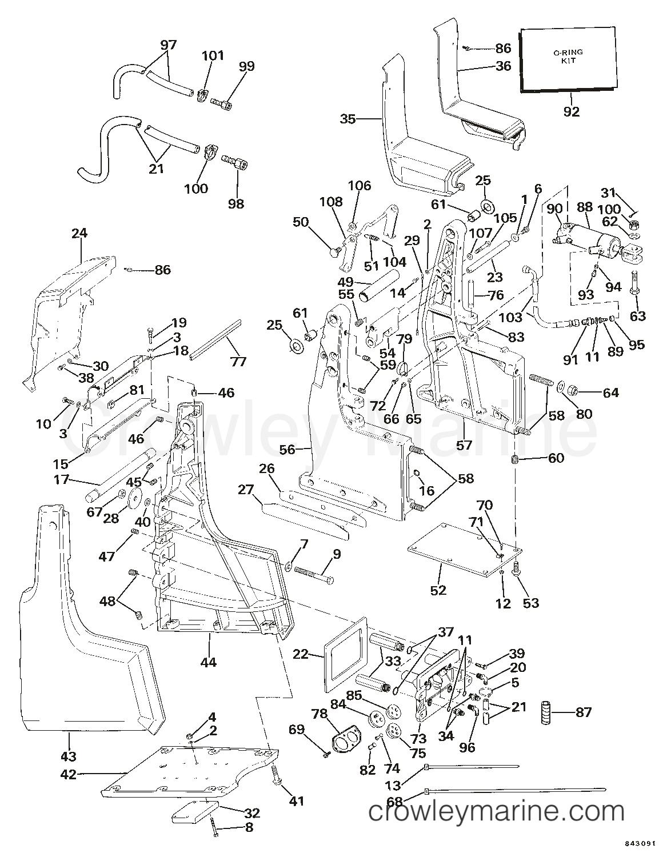 hight resolution of transom bracket assembly hydraulic steering 1984 omc sea drive omc wiring 1984 omc sea drive 1