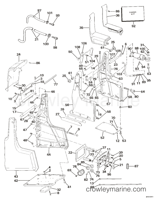 small resolution of transom bracket assembly hydraulic steering 1984 omc sea drive omc wiring 1984 omc sea drive 1