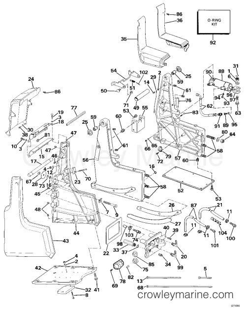 small resolution of transom bracket assembly hydraulic steering 1987 omc sea drive1987 omc sea drive 2 7l port engine