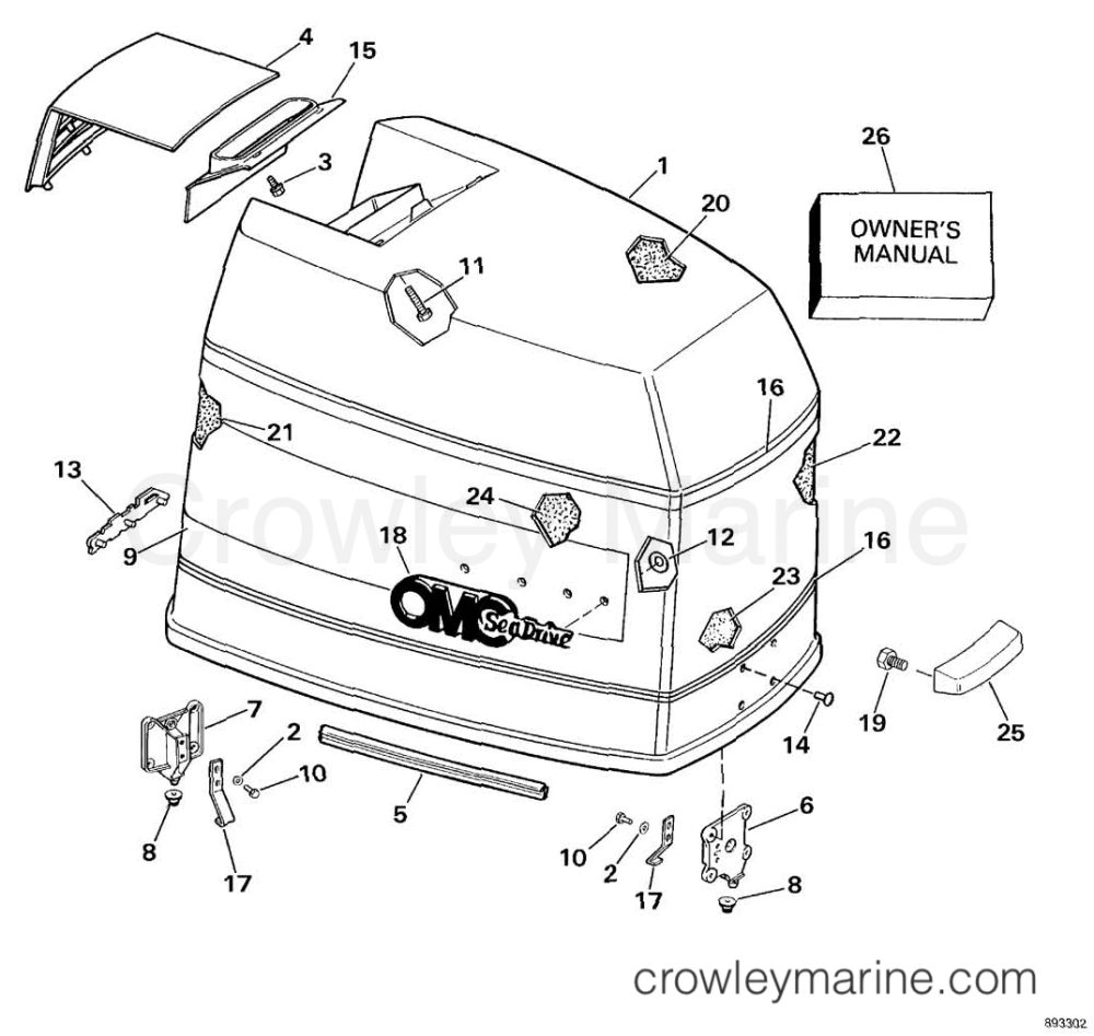 medium resolution of engine cover 1989 omc sea drive 4 0l 40bprarf crowley marine rh crowleymarine com omc engine manual omc motor diagram