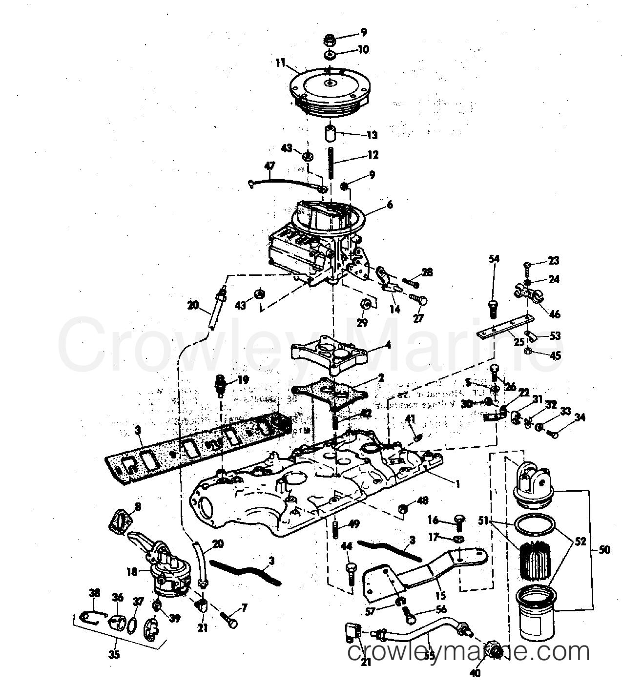 Intake Manifold Fuel Pump And Caruburtor Lines 175 190