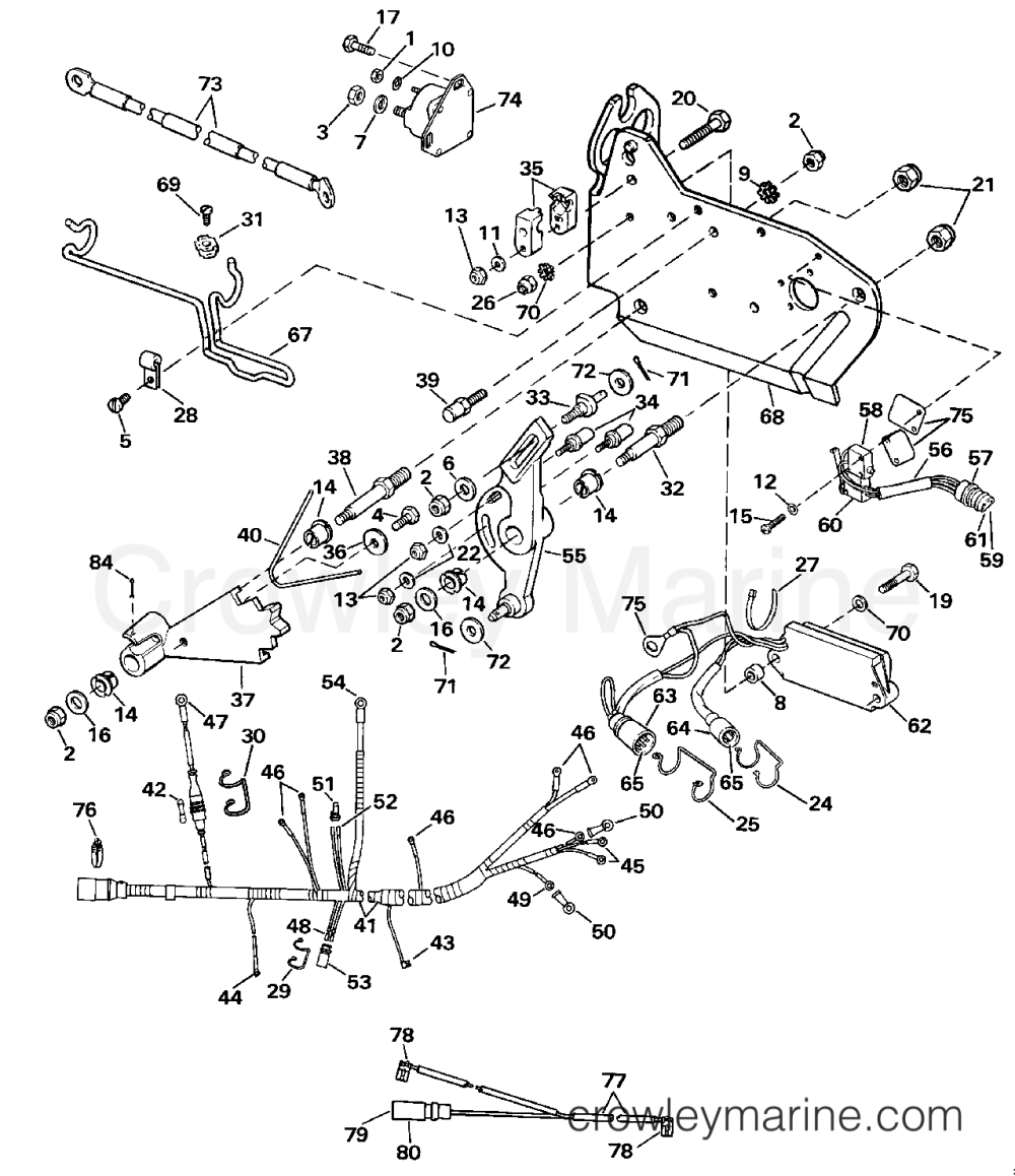 medium resolution of 1989 omc stern drive 7 5 460amlmed wire harness bracket solenoid section