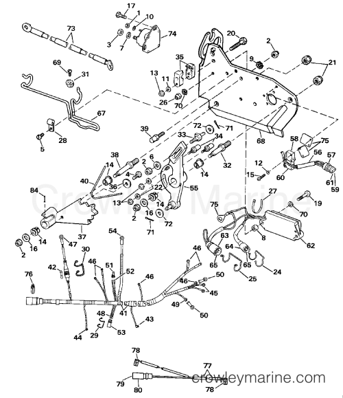 small resolution of 1989 omc stern drive 7 5 460amlmed wire harness bracket solenoid section