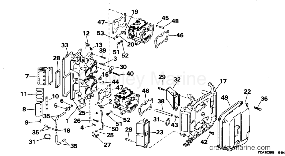 medium resolution of 1995 omc turbojet 115 115jeeob intake manifold section