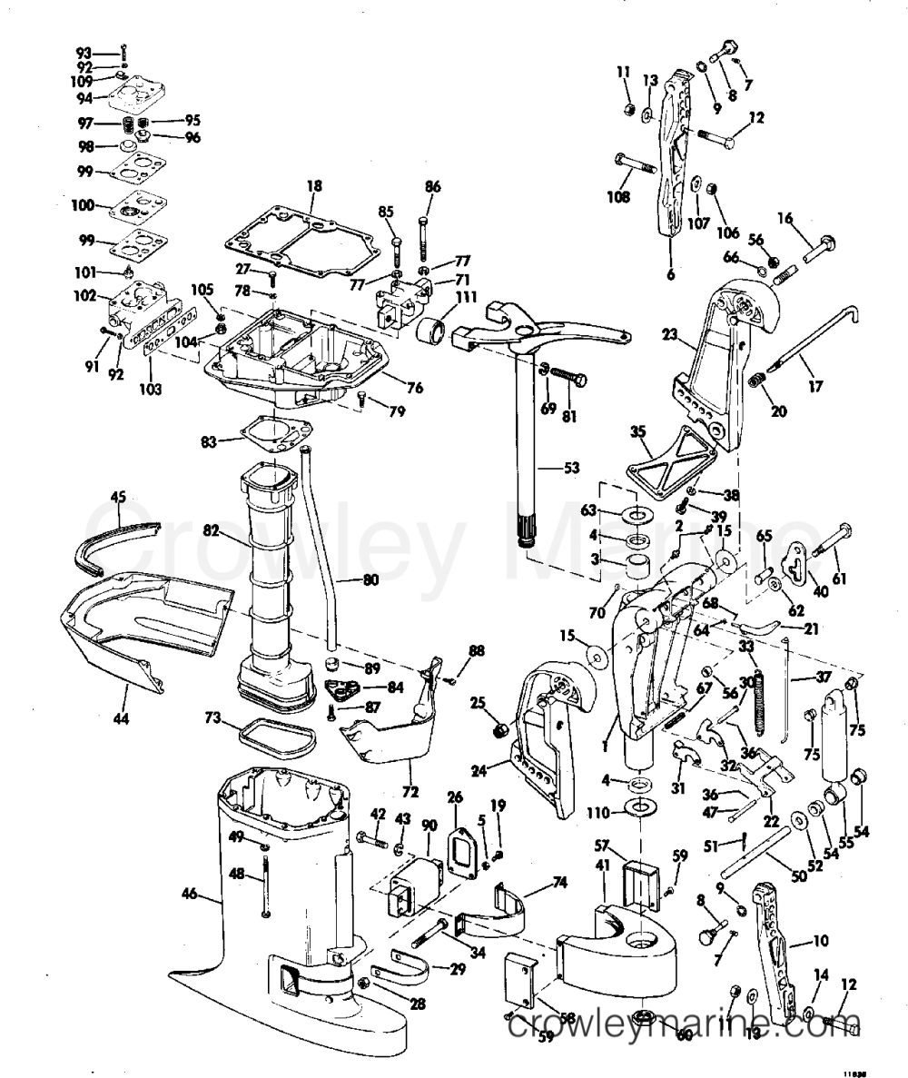 medium resolution of exhaust housing 1971 johnson outboards 125 125esl71c crowley marine and move the diagram 1971 johnson outboards