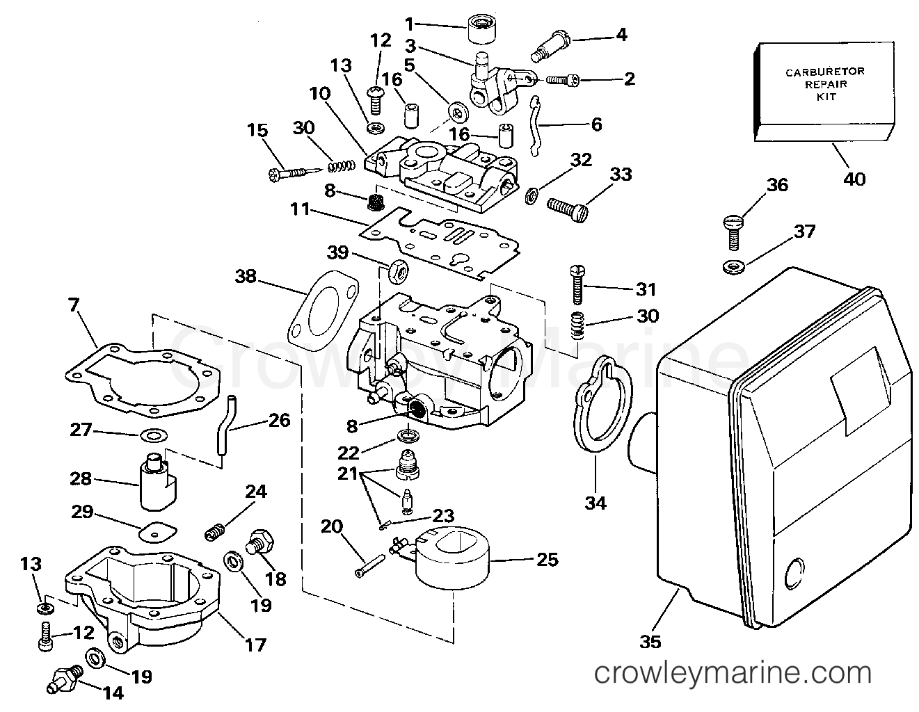 hight resolution of 1989 evinrude outboards 6 e6rcec carburetor section