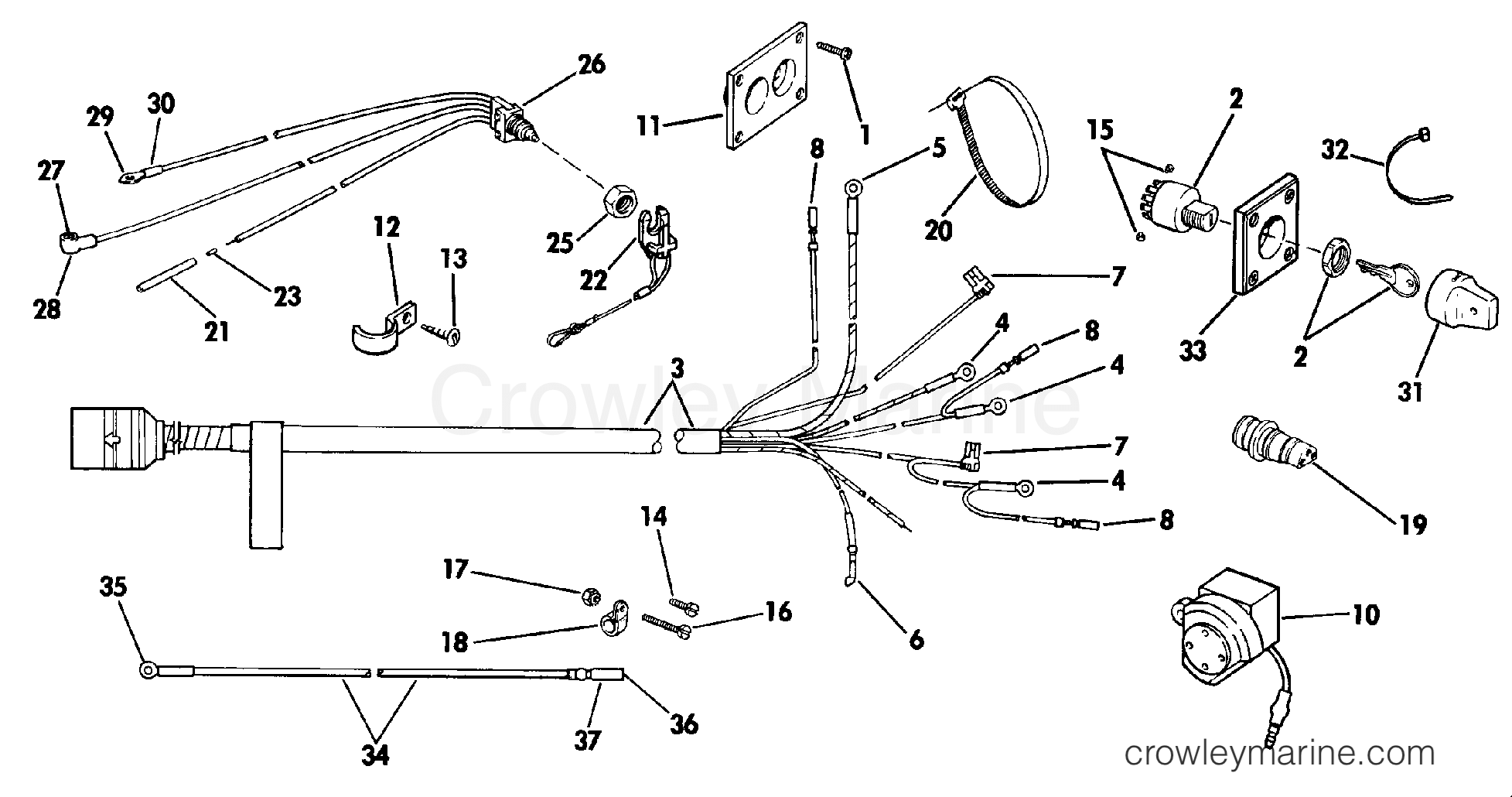 WIRING KIT SINGLE LEVER CNTRL REM. ELEC. 20-V8 EXCEPT 40