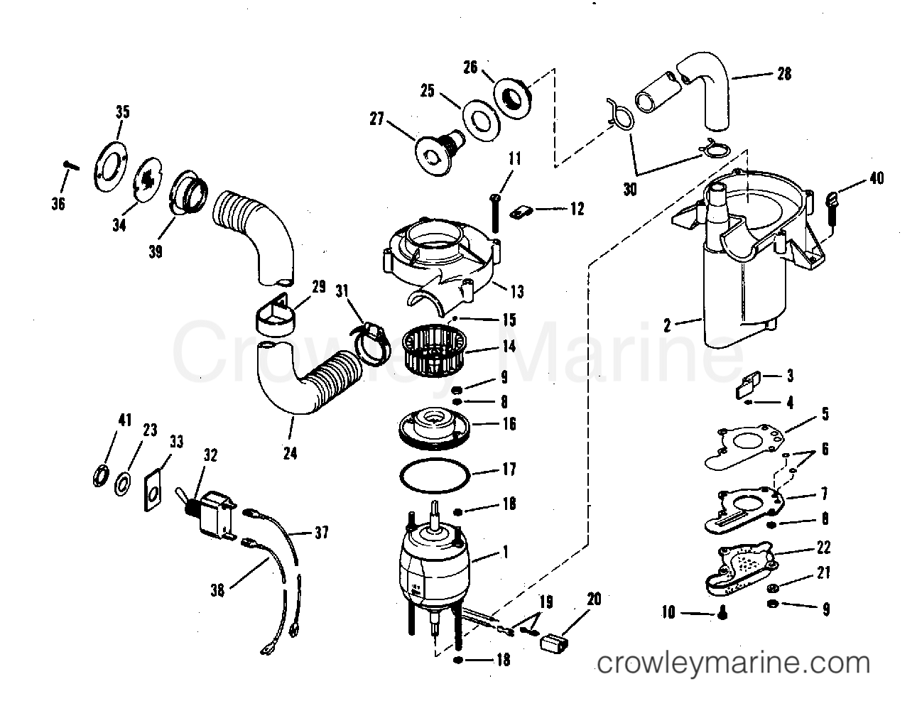 Bilge Pump And Vent Fan Assembly Part No