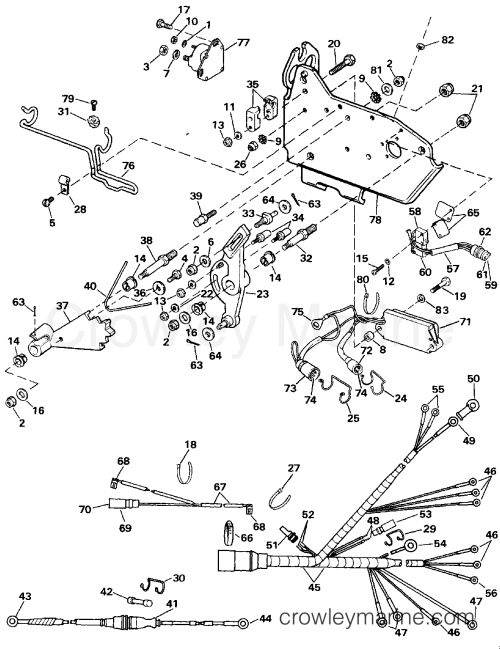 small resolution of 1989 omc stern drive 4 3 262amlmed wire harness bracket solenoid section
