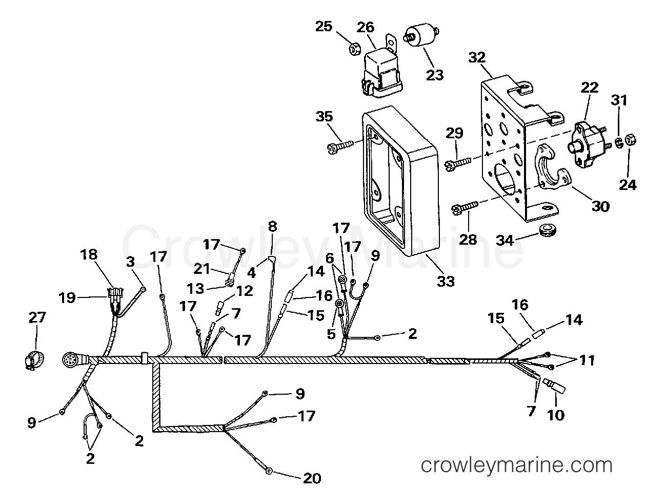 hight resolution of 1997 omc stern drive 5 7 572bplkd engine wire harness bracket 2v models