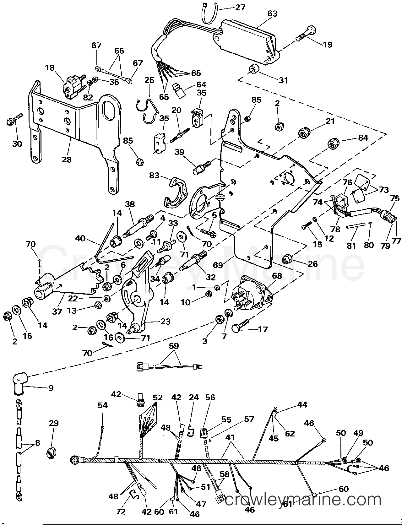 hight resolution of 1991 omc stern drive 3 302bmrrgd wire harness bracket solenoid section