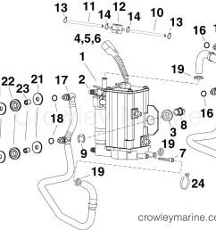 af evinrude outboards 55 mfe e55mjrlafa fuel pump vapor separator section [ 2500 x 2155 Pixel ]