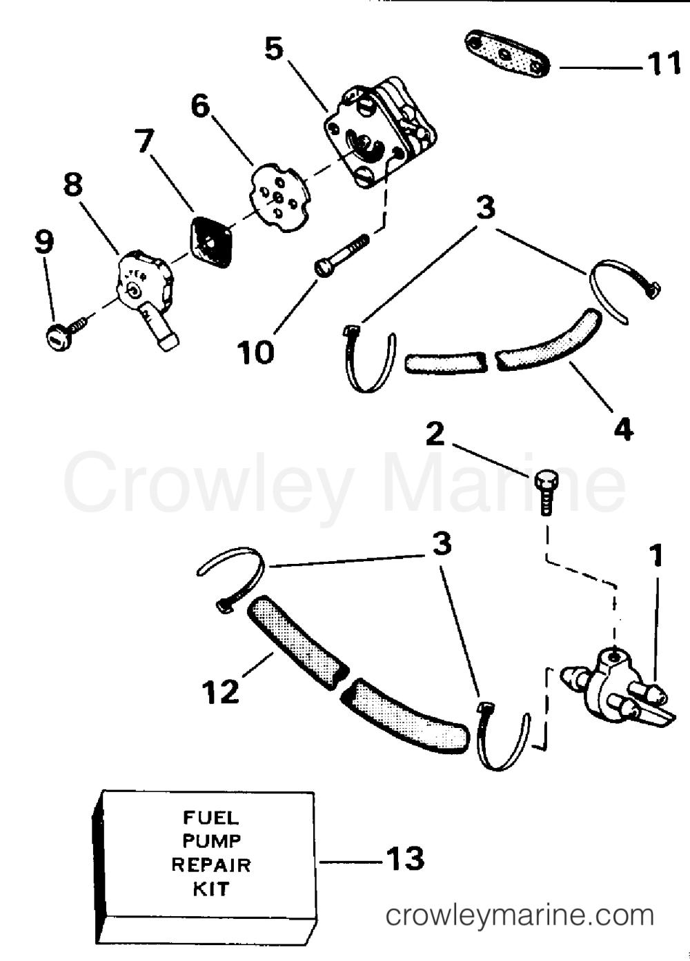 medium resolution of 1991 evinrude outboards 4 e4reia fuel pump section