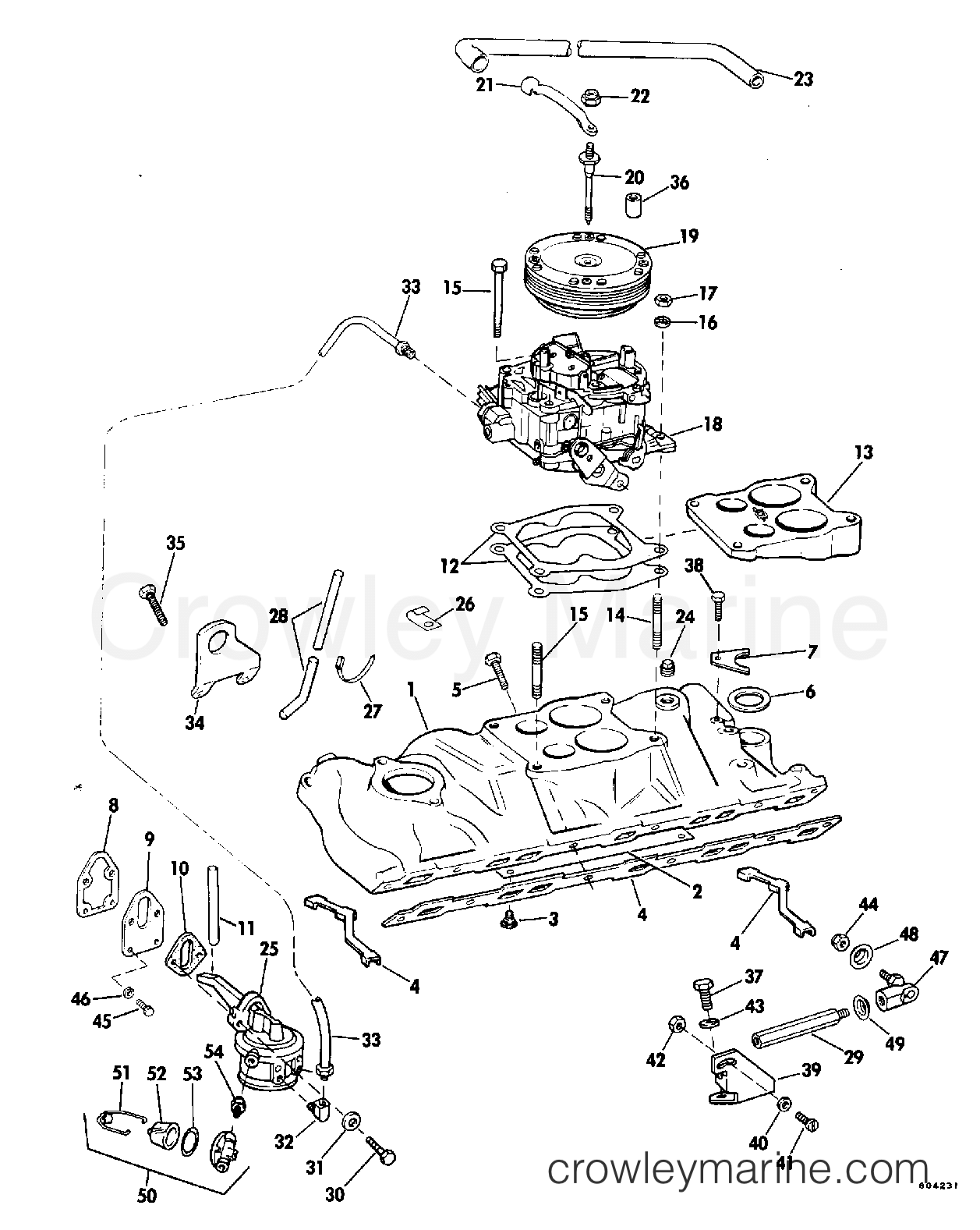 Intake Manifold Fuel Pump And Carburetor Lines