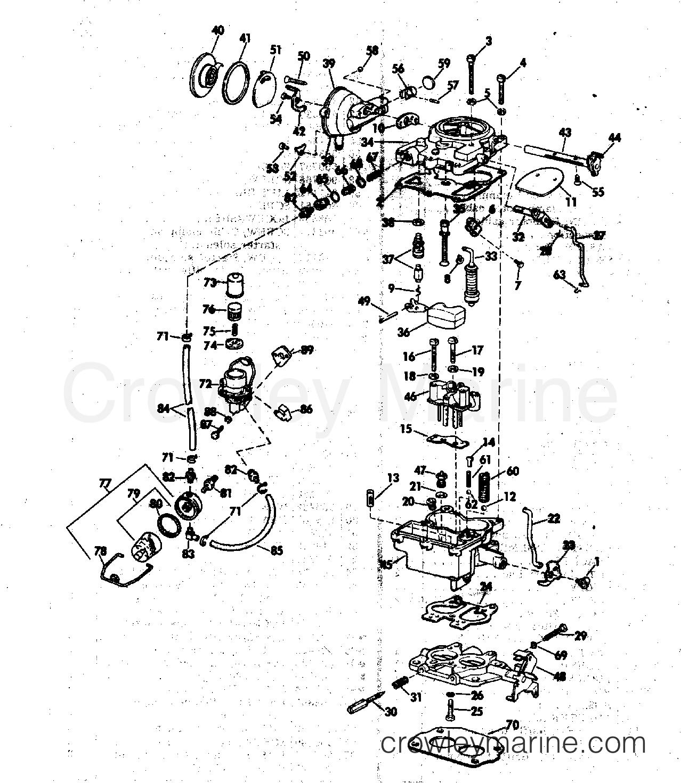Array carburetor u0026 fuel pump group 120140 u0026 165 hp stern drive 1976 omc rh