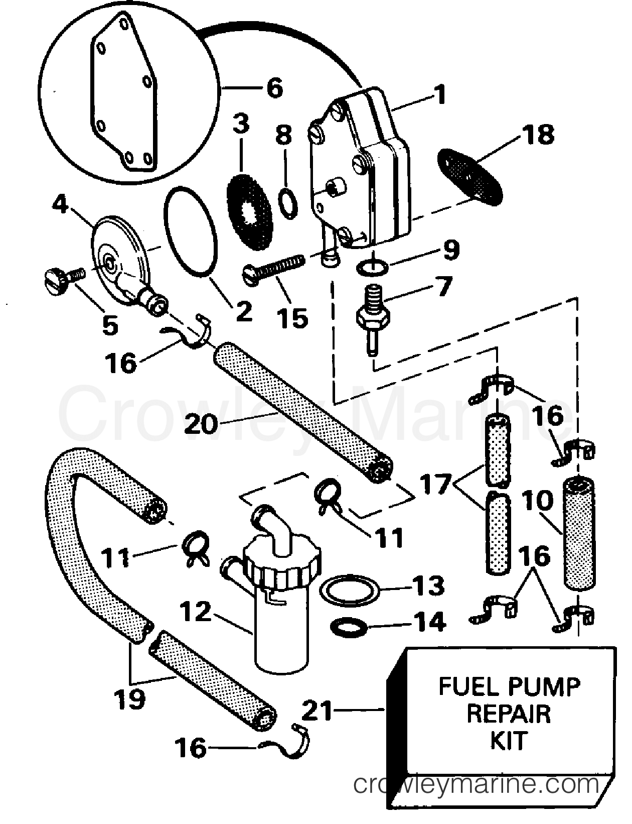 hight resolution of 1995 evinrude outboards 25 e25rweos fuel pump section