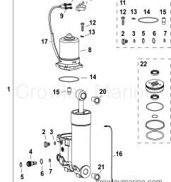 af evinrude outboards 40 e40dplafa trim tilt hydraulic assembly section [ 1166 x 1381 Pixel ]
