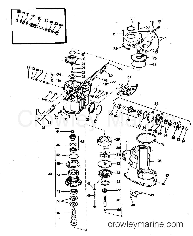UPPER GEARCASE GROUP 120, 140, 165, 170 & 190 HP STERN