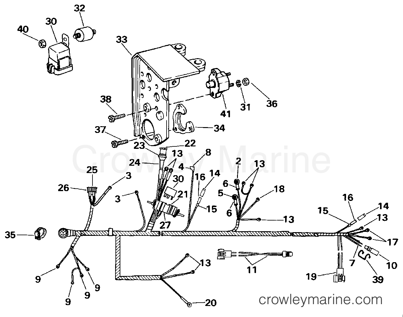 hight resolution of 1994 omc stern drive 4 3 432acmmda engine wire harness shift module section