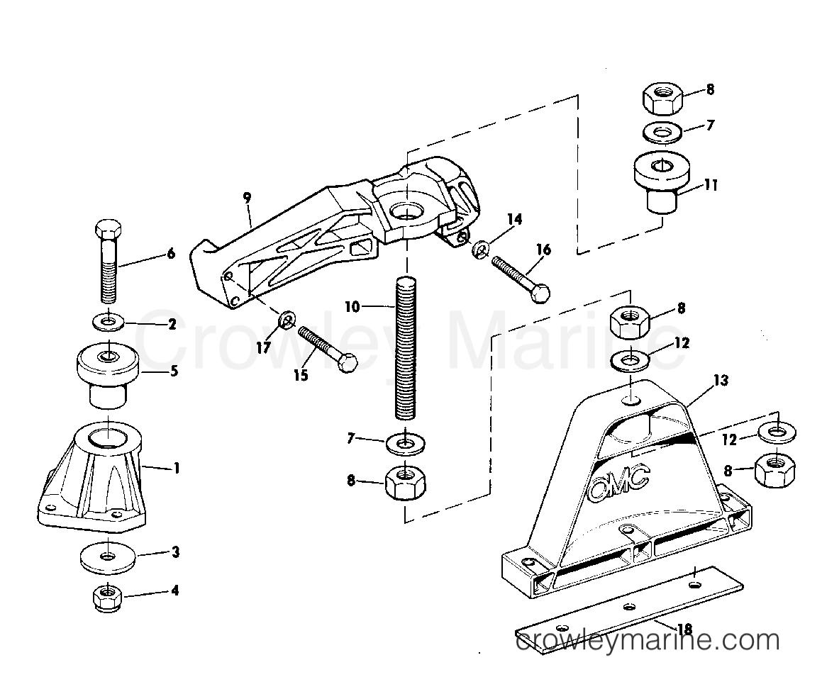 ENGINE MOUNT 165 HP W/MANUAL TRIM