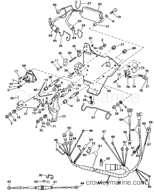 small resolution of 1990 omc stern drive 3 302bmrpwr wire harness bracket solenoid section