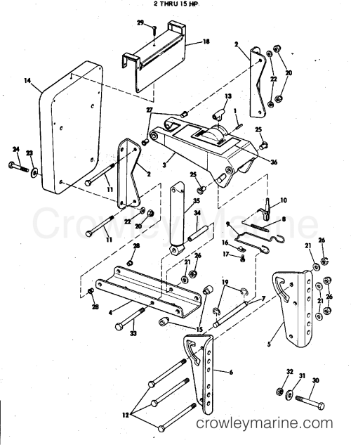 small resolution of 1977 rigging parts accessories miscellaneous auxiliary motor bracket kit 2 thru 15 hp section