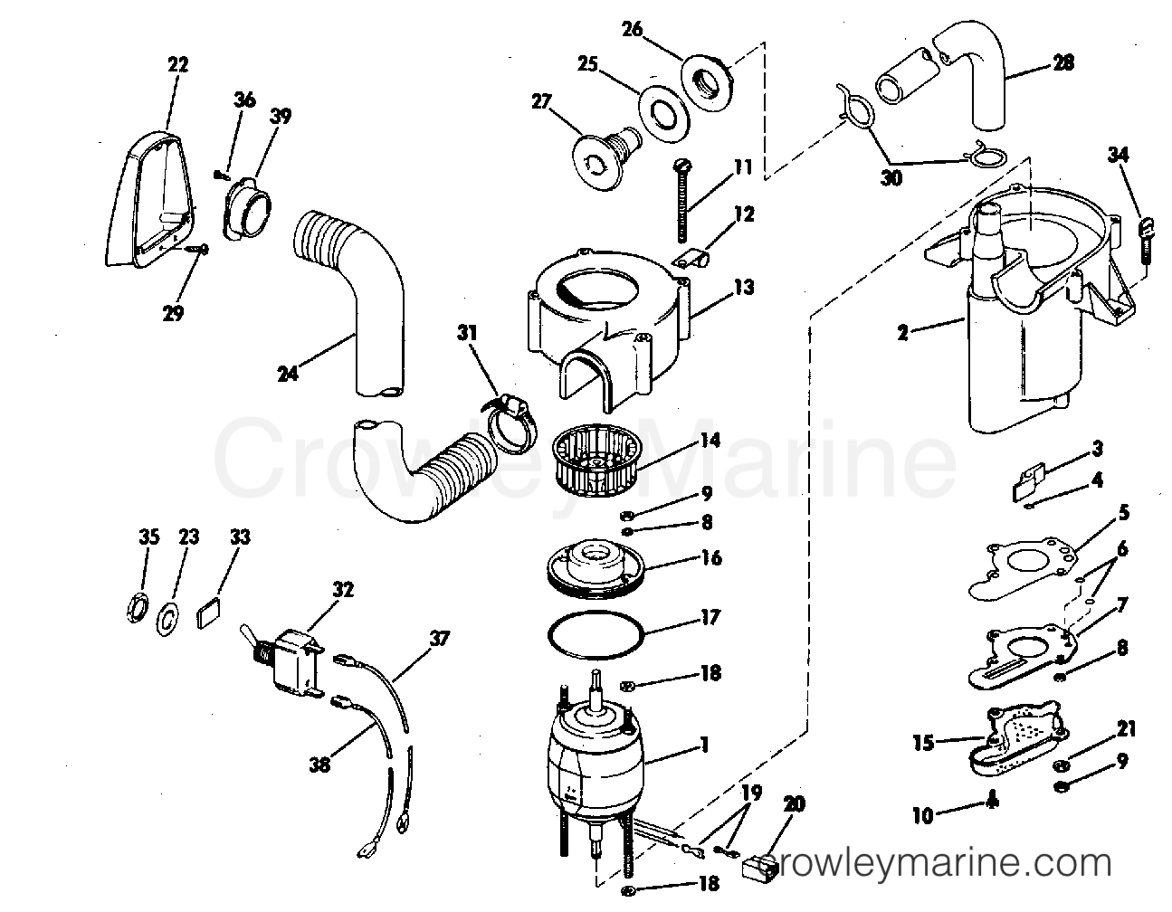 Bilge Pump Kit Part No 90 120 155 210 Hp